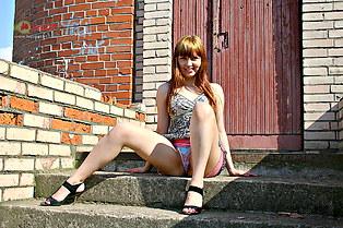Hidden up skirt of redhead Ksyushka