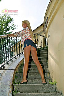 Mini upskirt of very pretty blonde