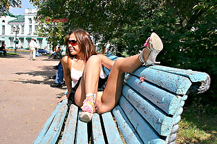 Nastya teens up skirt in piblic
