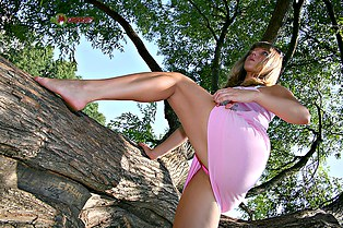 Pink pussy upskirt of Alika
