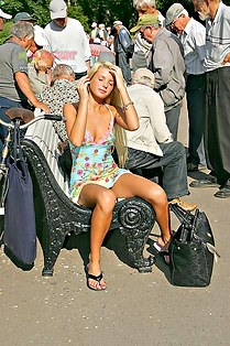 Public upskirt of blonde girl