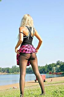 Blonde schoolgirl with butt upskirt