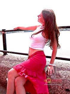 Long skirt upskirt of Sarah