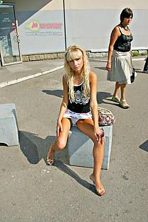 Blonde upskirts cute panty outdoors