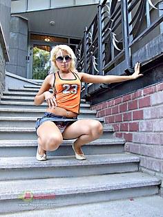 Sporty blonde F.B.I. panty upskirt