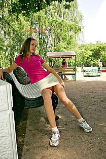 Classy girl no panty up skirt