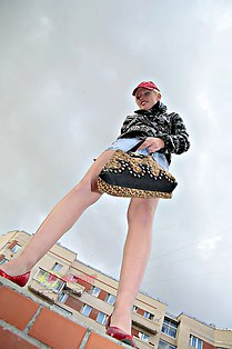 Look up skirt of teen Modelina
