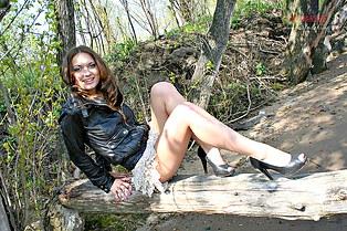 Hidden camera up skirt of hottie Polya