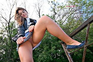Candid silk panty upskirt of Silvia