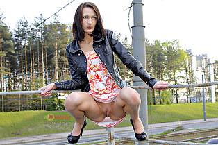 Mini upskirt of tall girl Dasha
