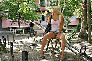 Blonde girl upskirts pussy