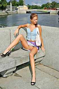 Open legs up skirt of Anna