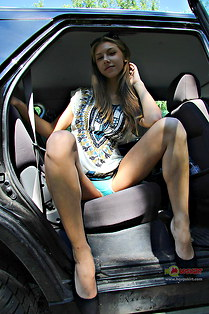 Kinky Abby shows her hot upskirt