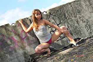 Hot gal Demi pink panty upskirt