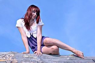 Brunette Irina long legs upskirt