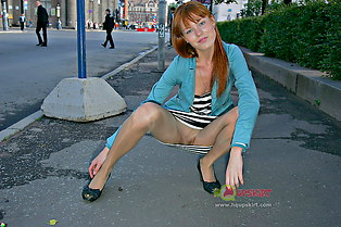 Peek up skirt of hot redhead