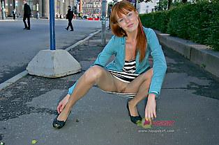 Peek up skirt of hot redhead