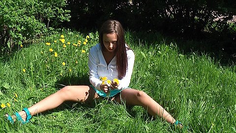 Sweet teenager upskirting outdoors