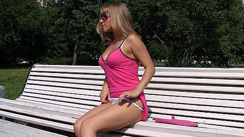 Lace panties up skirt of pink dress