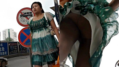 Wind blows up skirt in HD video