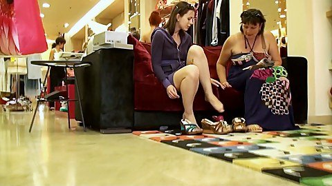 Yummy teen upskirts in the shoe store