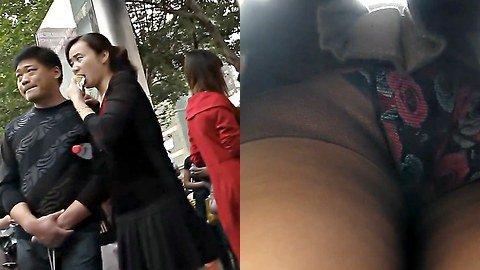 Butt n' roses up the skirt