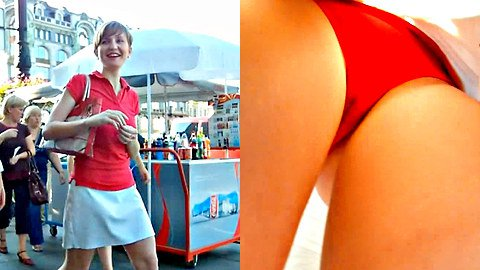 Fantastic red panty up skirt footage