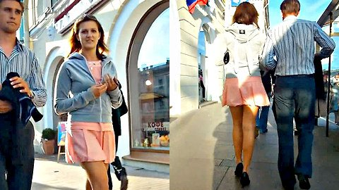 Pink mini skirt up skirt