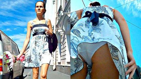 Nice and cute summer dress upskirt