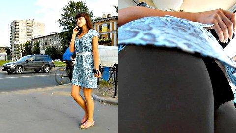 Gorgeous upskirt girl in a hot dress