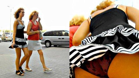 Striped summer dress upskirt