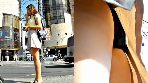Sweet upskirt filmed near a mall