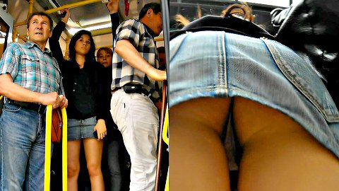 Spy upskirt in a crowded bus