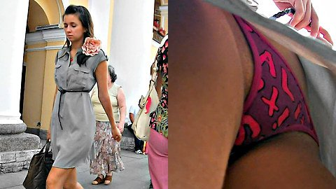 Candid up skirt and funny panty