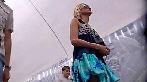 Look up skirt women in subway