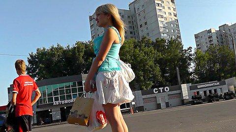 Gal got ass upskirt spied on the bus stop
