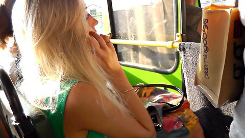 Blonde in the green dress upskirt panty