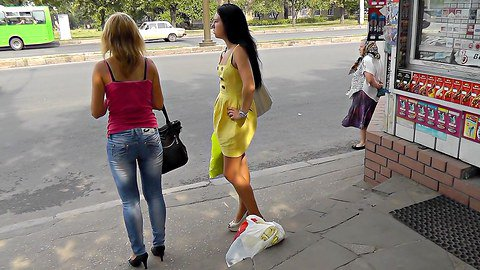 Girl gets thong shot up yellow dress