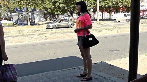 Full back panty up the short short skirt