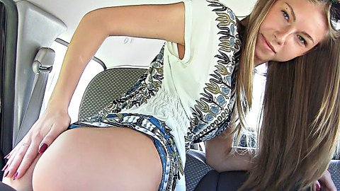 Abby shows hot panty upskirt in the car