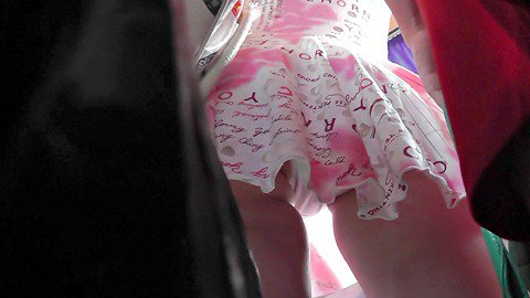 The white panty peeping out up the skirt