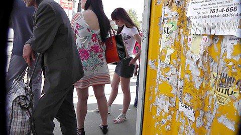 A company of girls got upskirts shot
