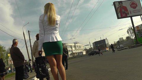 Blonde in high heels upskirt erotica