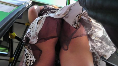 Tiny black thong up skirt of cute amateur