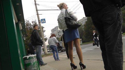 Blonde in high heels impressive upskirt