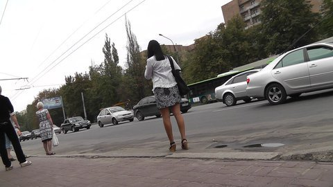Fem on bus stop caught on up skirt video