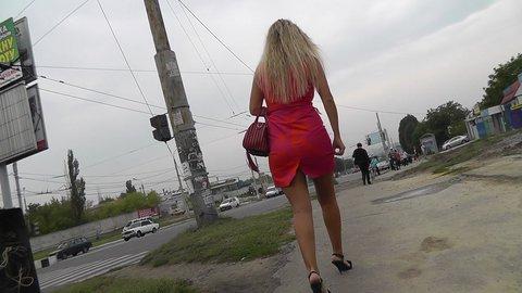 Well shaped blonde quick upskirt peek