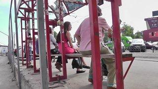 Pink dress upskirt on crowded transport